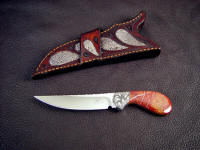 Obverse view: Pecos 2 fine gemstone handled working, collectors knife with frog skin crossdraw sheath