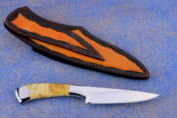 """Phact"" reverse side view. Sheath has full panel inlays of Teju lizard to match color of fossil coral shown in this photo"