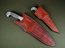 """Mercator"" and ""Phlegra"" in matching custom hand-tooled and engraved leather sheaths"