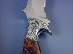 """Phobos"" reverse side front knife bolster hand-engraving detail."
