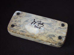 """Procyon"" Breccia Marble case/sarcophagus bottom with maker's signature. Case has inlaid neoprene feet for any surface. Case is large and meaty."