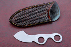 """Random Access Three"" obverse side view in CPM154CM high molybdenum powder metal technology stainless steel blade, hand-stamped brown basketweave leather vertical sheath"
