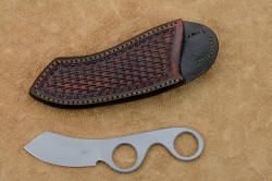 """Random Access Two"" obverse side view in CPM154CM high molybdenum powder metal technology stainless steel blade, hand-stamped brown basketweave leather vertical sheath"