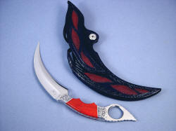 """Raptor"" kerambit (Manicouagan) reverse side view. Note sheath back inlays of rayskin even in belt loop"