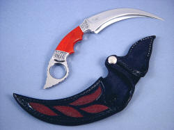 """Raptor"" kerambit (Manicouagan) obverse side view in 440C high chromium stainless steel blade, hand-engraved 304 stainless steel bolsters, Jasper gemstone handle, red stingray skin inlaid in hand-carved leather sheath"