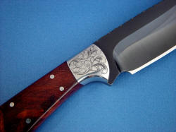 """Rio Grande"" reverse side front bolster detail. Note clean satin finish, hot blued on high alloy steel blade"
