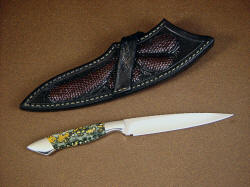 """Santa Fe"" reverse side view. Elegant knife has handsome crossdraw belt loop style sheath inlaid with lizard skin"