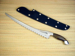 """Sasserides"" Chef's bread knife, obverse side view in 440C high chromium stainless steel blade, 304 stainless steel bolsters, Australian Tiger Iron gemstone handle, kydex, nickel plated steel slip sheath"