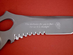 """Shahaz"" custom diamond stylus engraving on blade hollow grind is bold and deep, with lion and text"