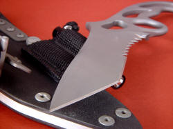 """Shahaz"" point view. Point is tough and strong, with hollow grind and top swage meeting at an aggressive tanto angle. Edges are razor-keen."