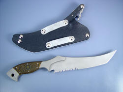 """Sirara"" fine trailing point combat knife, reverse side view. Very tough specialized knife for the combat professional."