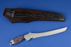 """Taibhse"" reverse side view. Sheath has multiple inlays of black Emu skin in hand-carved leather"