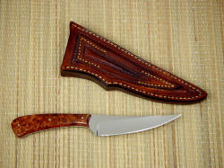"""Talitha"" reverse side view. Knife has elegant lines, sheath is tough and durable, hand-stitched in 9-10oz. leather shoulder"