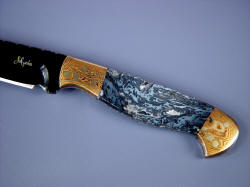"""Tarazed"" handmade collector's knife obverse side handle detail. Moss agate is striking in color and pattern"