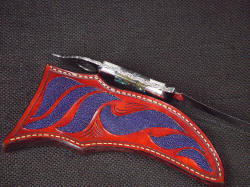 """Tethys"" spine edgework, filework, engraving detail. Complex pattern on knife spine is hand-engraved and fileworked"