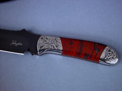 """Tharsis Intense"" obverse side handle detail. Maker's mark is deeply diamond engraved, choil is sculpted and fileworked."