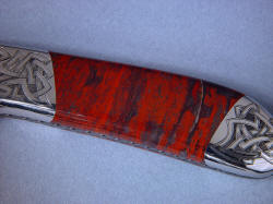 """Tharsis Intense"" obverse side gemstone handle detail. Stone is jasper (red) hematite (gray/metallic), and quartz (clear)"