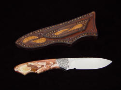 """Thuban"" reverse side view. Note striking patterns in Jasper gemstone handle, shark skin inlays on sheath back and belt loop."