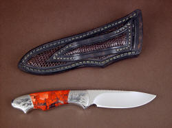 """Thuban"" reverse side view. Lizard skin inlays are on the sheath back as well as the front, and even in the belt loop"