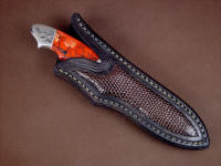 """Thuban"" sheathed view. Sheath is elegant and clean, tight lizard scale pattern compliments handle and filework"
