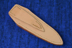 """Thuban"" Vertical PSD knife sheath, back side view. This undyed, untreated leather shoulder is for standard vertical wear along a belt or webbing"
