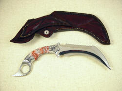 """Titan"" kerambit, reverse side view. Note full inlays on back of sheath including belt loop."