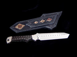 """Trailhead"" fine handmade knife, reverse side view. Corn snake panels inlaid in black sheath are striking and accent patterns in knife, embellishment, and sheath"