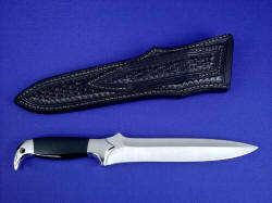 """Treatymaker LT"" reverse side view. Knife is clean and slick; sheath back and belt loop are completely finished."