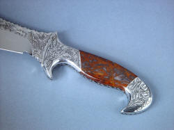 """Tribal"" Helhor, obverse side handle view. Engraving is complete through knife and fittings, all stainless steel and gemstone. Handle is contoured, smoothed, and comfortable"