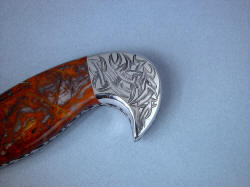 """Tribal"" Helhor, obverse side rear bolster engraving detail. Pattern is created throughout piece, compliments the pattern of gemstone from Western Australia"