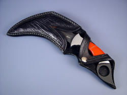 """Triton"" kerambit: sheathed view. sheat is fully protective, yet displays the gemstone knife handle"