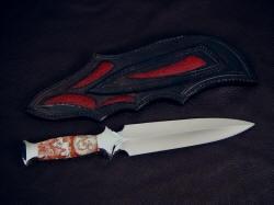 """Troll Magnum"" reverse side view. Note inlays on sheath back, nice lines of hollow ground dagger blade."