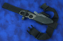 """Velox"" tactical counterterrorism knife, shown with EXBLX, belt loop extender with thigh strap for wearing knife and sheath low on leg"