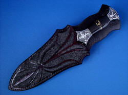 """Vesta"" black rune dagger, sheathed view. Sheath and dagger are well matched, custom made"