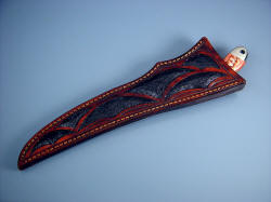 """Volans"" sheathed detail. Beautiful inlaid sheath fully protects the knife blade and handle."