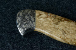 """Vulpecula"" five power enlargement of reverse side rear bolster. All handle surfaces are contoured, rounded, finished, polished for comfort and smooth transitions"