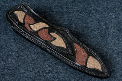 """Vulpecula"" sheath back view. Inlays of brown and tan rayskin are in belt loop and sheath back, stitched with heavy polyester for strength"