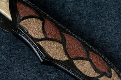 """Vulpecula"" sheath front detail. True inlays are set in 9-10 oz. leather shoulder, dyed black and sealed"
