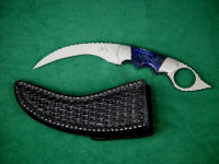 """Wardlow Kerambit"" obverse side view in 440C high chromium stainless steel blade, 304 stainless steel bolsters, Sodalite gemstone handle, basketweaved leather sheath"