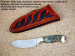 """Fornax"" Fine Nessmuk Style Upswept Skinning Blade, Collectors Fine Gemstone Handled Knives, 440 C, Nickel Silver, Labradorite Gemstone Handle, Exotic Inlaid Scabbard"