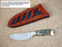 """Fornax"" investment collector's grade skinning knife in 440C stainless steel, nickel silver, Labradorite gemstone, black stingray skin inlaid leather sheath"