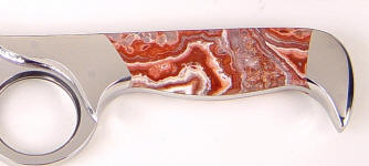 Crazy Lace Agate gemstone knife handle