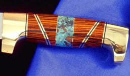Chrysocolla gemstone knife handle on hidden tang knife with Cocobolo hardwood, brass
