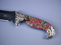 Eudialite gemstone custom knife handle