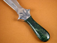 Alaskan nephrite jade gemstone on full tang dagger handle