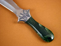 Alaskan Nephrite jade is very tough, tough enough to be used without a rear bolster protecting the stone on the knife handle