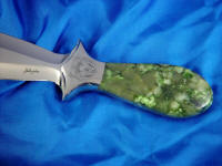 British Colombian Jade gemstone custom knife handle