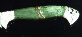 Nephrite Jade with opalized petrified wood mosaic gemstone full tang custom knife handle