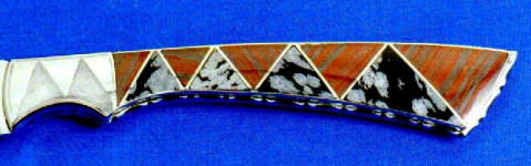 Snowflake Obsidian, Banded Jasper/Hematite gemstone inlaid in nickel silver full tang knife handle