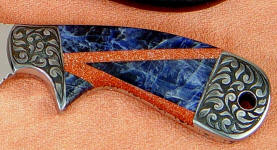 Italian Goldstone, Blue Sodalite mosaic on full tang handmade knife handle